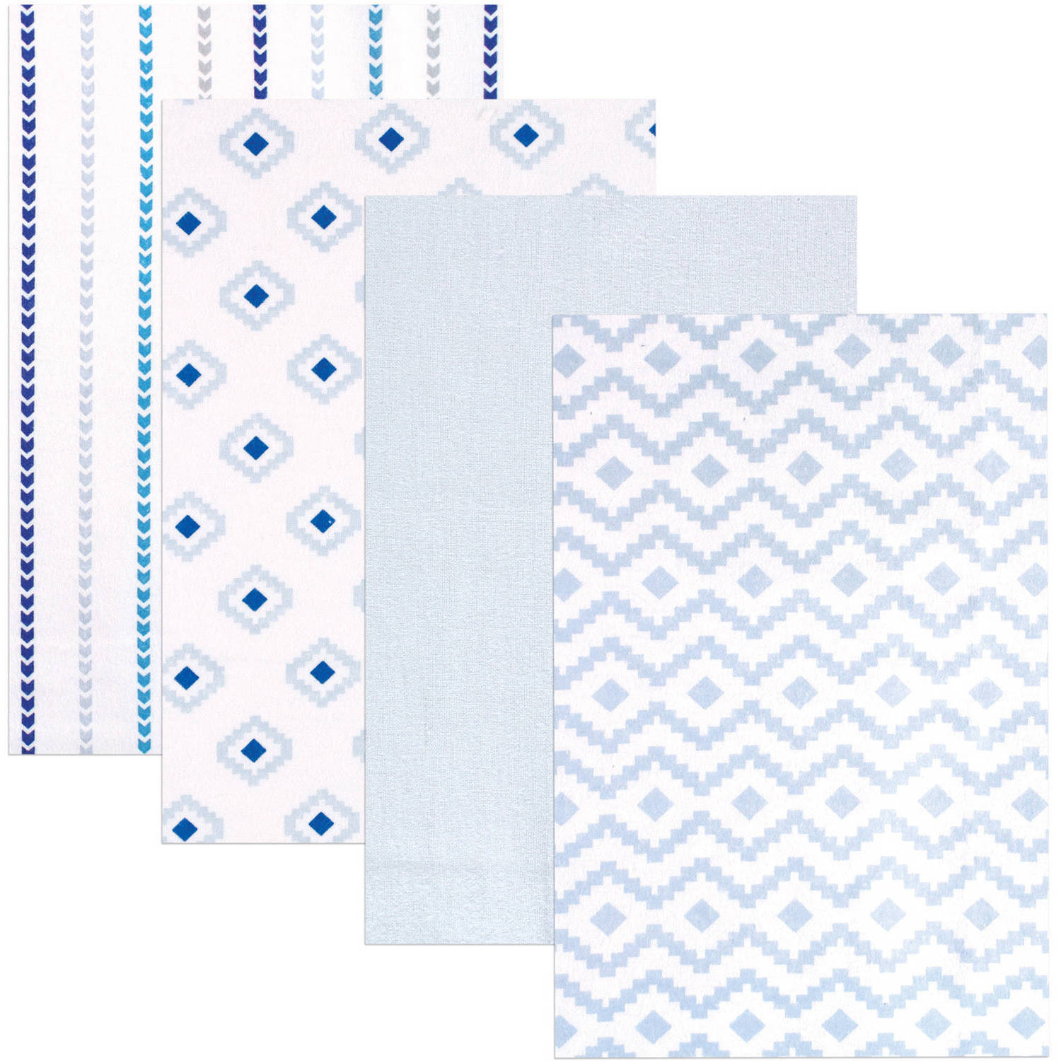 Hudson Baby Receiving Blankets Flannel, 4pk, Boy Modern