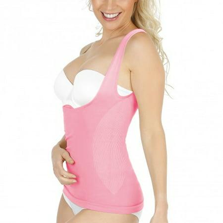 Acappella Women's Waist Cincher Tummy Control Shapewear Compression Vest Invisible Body Shaper, Pink, US M