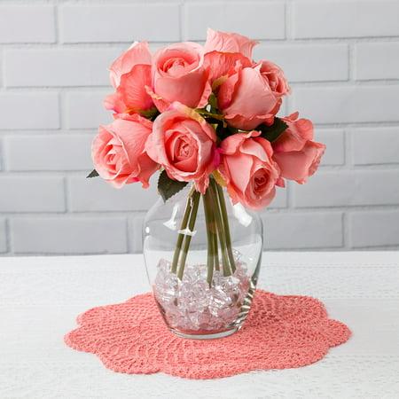 (Quasimoon Blush Pink Rose Bud, Realistic 8 Flower Bouquet Wedding Silk Floral for Crafting, 2.5