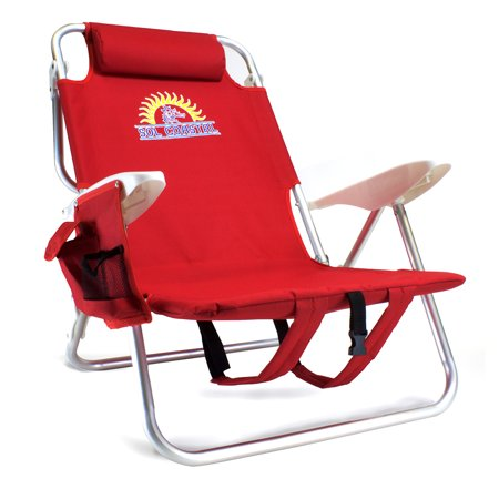 4 Position Folding Beach Chair Red