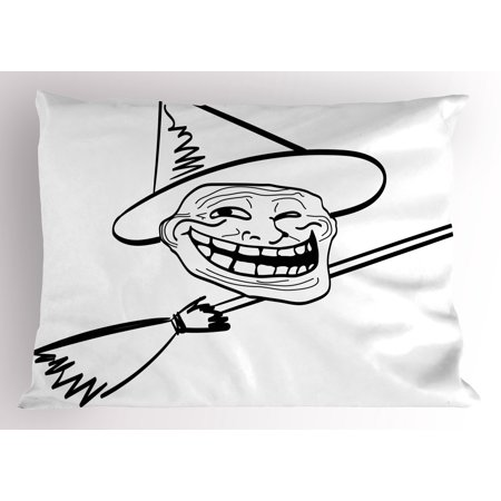 Humor Pillow Sham Halloween Spirit Themed Witch Guy Meme Lol Joy Spooky Avatar Artful Image Print, Decorative Standard King Size Printed Pillowcase, 36 X 20 Inches, Black and White, by Ambesonne - Gay Halloween Meme
