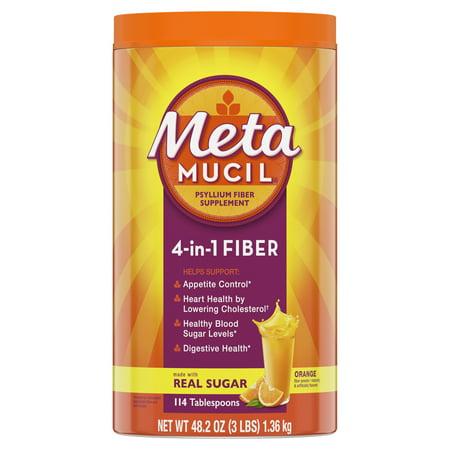 Metamucil Fiber, 4-in-1 Psyllium Fiber Supplement Powder with Real Sugar, Orange Smooth Flavored Drink, 114 Servings Fiber Plus Powder Apple