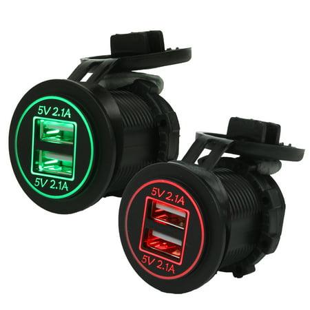 Waterproof DC 12V-24V Dual USB Ports Car Cigarette Lighter Power Supply Socket Plug