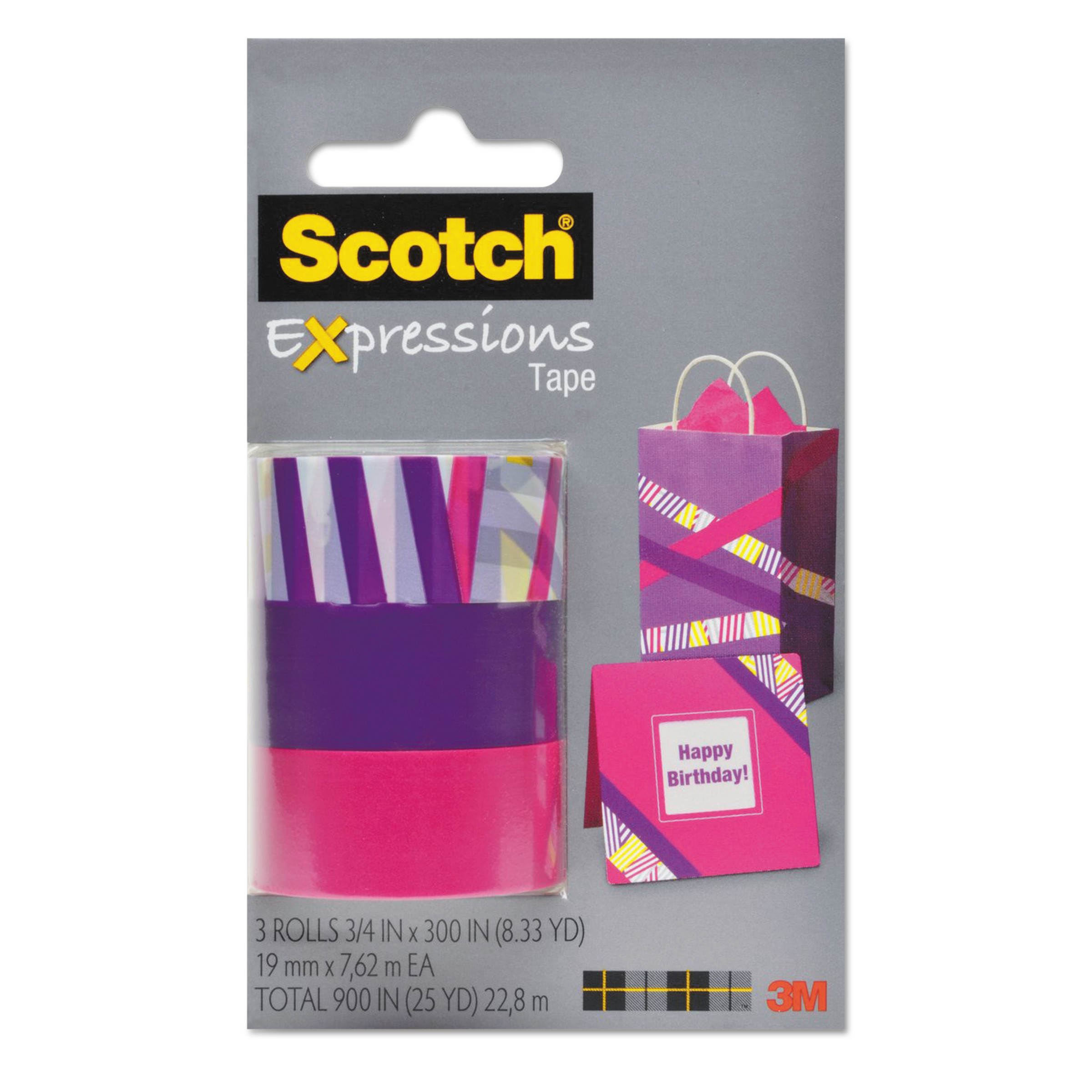 "Scotch Expressions Magic Tape, 3/4"" x 300"", Assorted Preppy, 3/Pack"