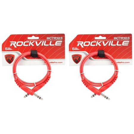 2 Rockville RCTR103R Red 3' 1/4'' TRS to 1/4'' TRS Cable 100% (3 3 3 5 Copper Ser Cable)