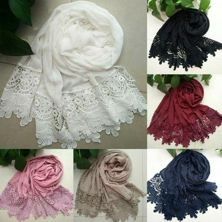 Women Floral Lace Edges Hijab Shawl Cotton Muslim Scarves Maxi Scarf White ()