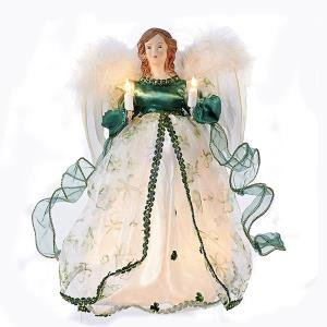 Irish Green Angel With Wings Holding Candles Light Up Christmas Tree Topper