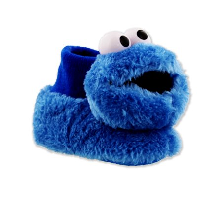 Sesame Street Cookie Monster Elmo Toddler 3D Head Sock Top Slippers STF7665BSS](Toddler Glass Slippers)