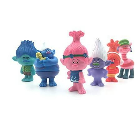 Set of 6, 3-Inch-Tall DreamWorks Movie Trolls Action Figures - Trolls Poppy, Branch, Biggie, Cooper, DJ Suki, Guy Dimond,Trolls Cake Toppers (Shy Guy Action Figure)