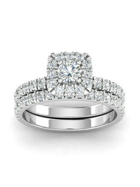 Certified 1.50ctw Diamond Halo Engagement Ring Bridal Set in 10k White Gold (G-H, I2-I3)
