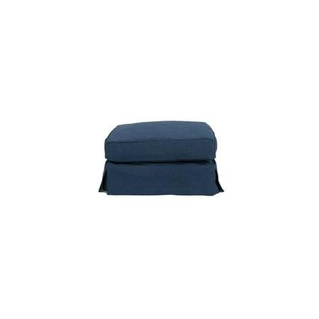 18 x 33 x 25 in. Horizon Slipcovered Ottoman - Indigo Blue