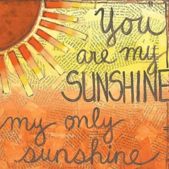 Monica Martin Stretched Canvas Art - You Are My Sunshine - Small 12 x 12 inch Wall Art Decor Size.