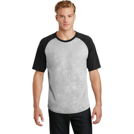 Sport-Tek T201 Short Sleeve Colorblock Raglan Jersey, Heather Grey/ Black, XS