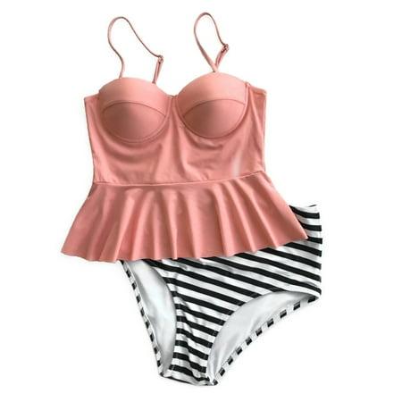 Cupshe Womens Falbala Top Stripe Bottom Bikini Set High Waisted Swimsuits Beach Tankini