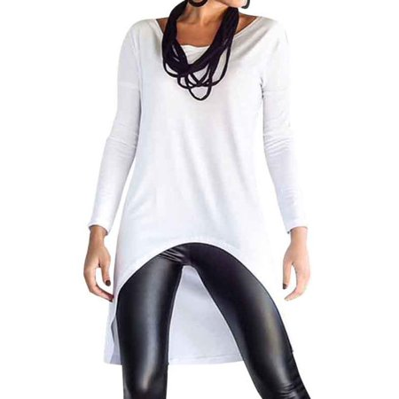 1f1d3f171a0f Celmia - Women's O-neck Long Sleeve Irregular Hem Comfy T-shirts -  Walmart.com