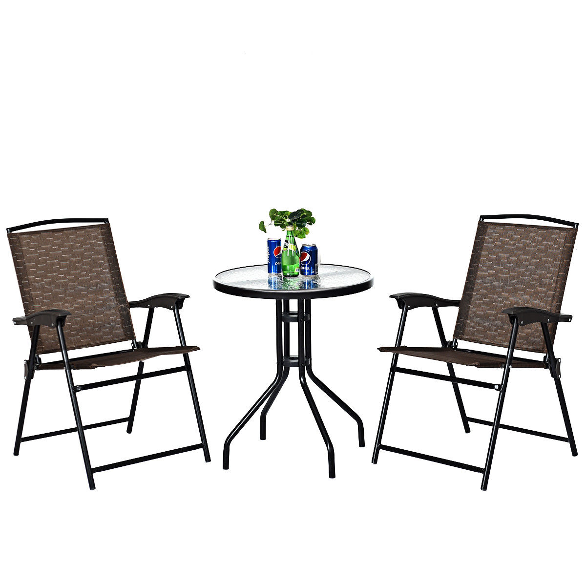 Costway 3PC Bistro Patio Garden Furniture Set 2 Folding Chairs Glass Table Top Steel