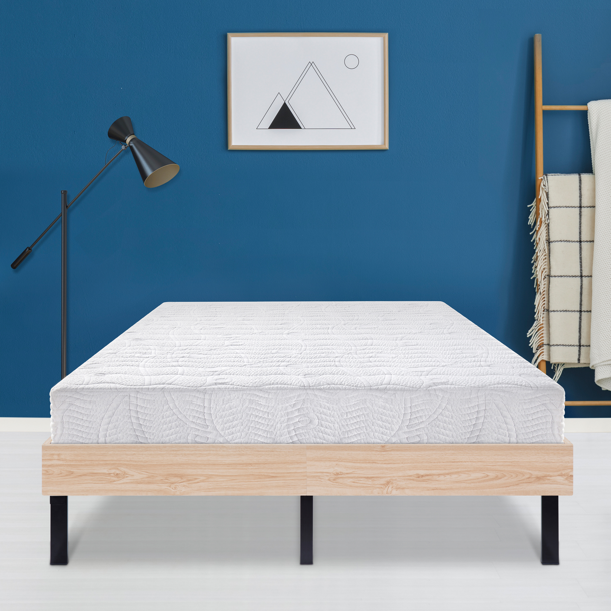 GranRest 14 Inch Classic Natural Wood Finished Platform Bed Frame / Dura Steel Slat Support, Stylish Natural
