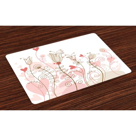 Doodle Placemats Set of 4 Wedding Themed Floral Illustration with Cute Little Hearts Blooming Abstract Art, Washable Fabric Place Mats for Dining Room Kitchen Table Decor,Pale Pink, by Ambesonne for $<!---->