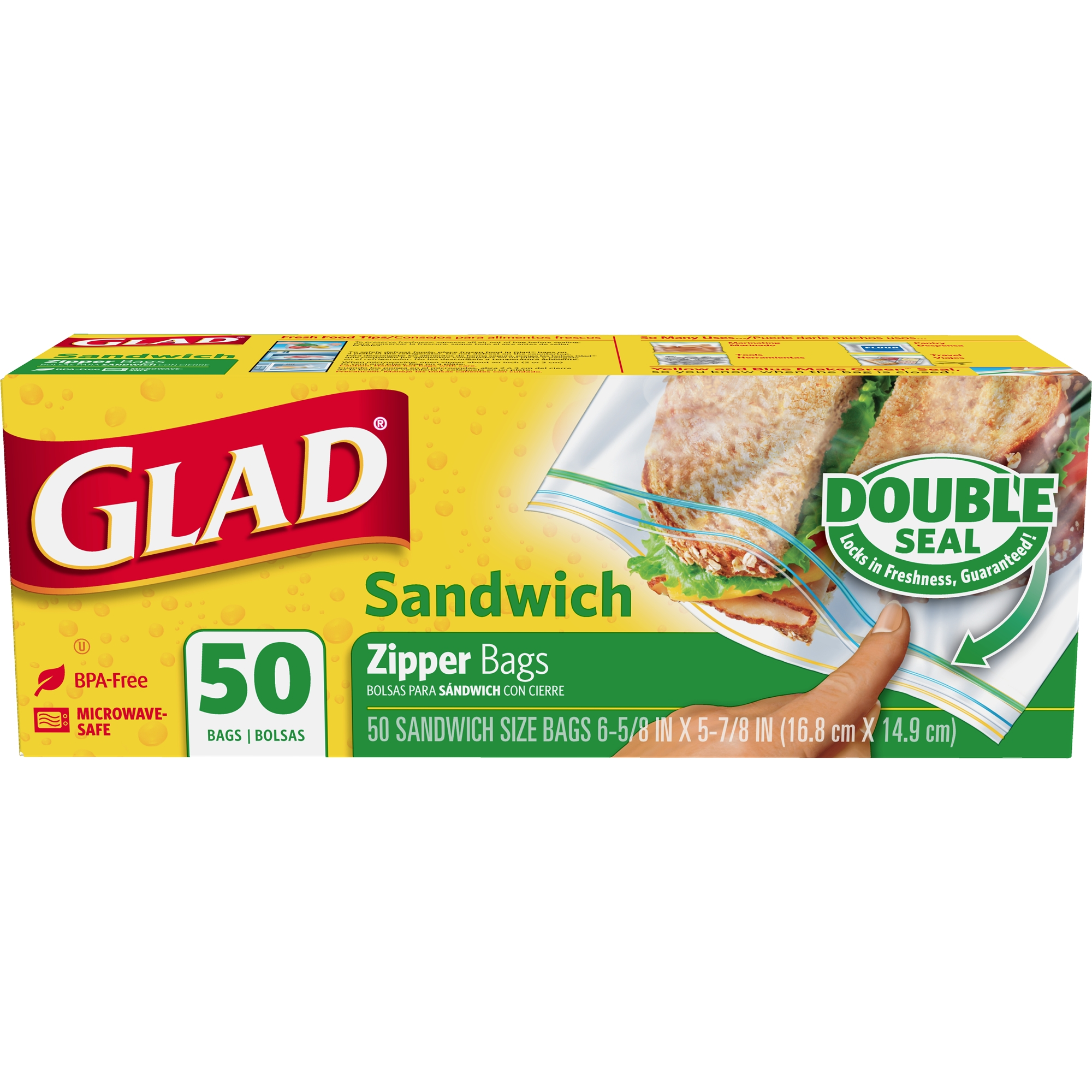 Glad Zipper Food Storage Sandwich Bags - 50 ct