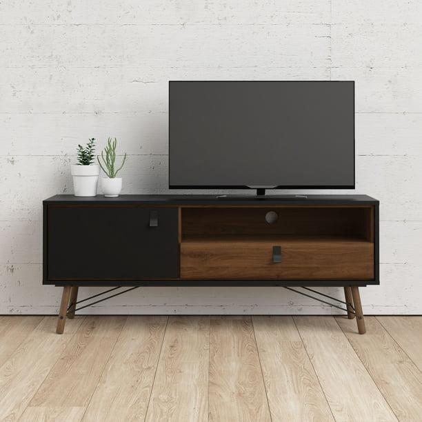 Tvilum Ry 1 Door, 1 Drawer TV Stand with Open Shelf, Black Matte/Walnut