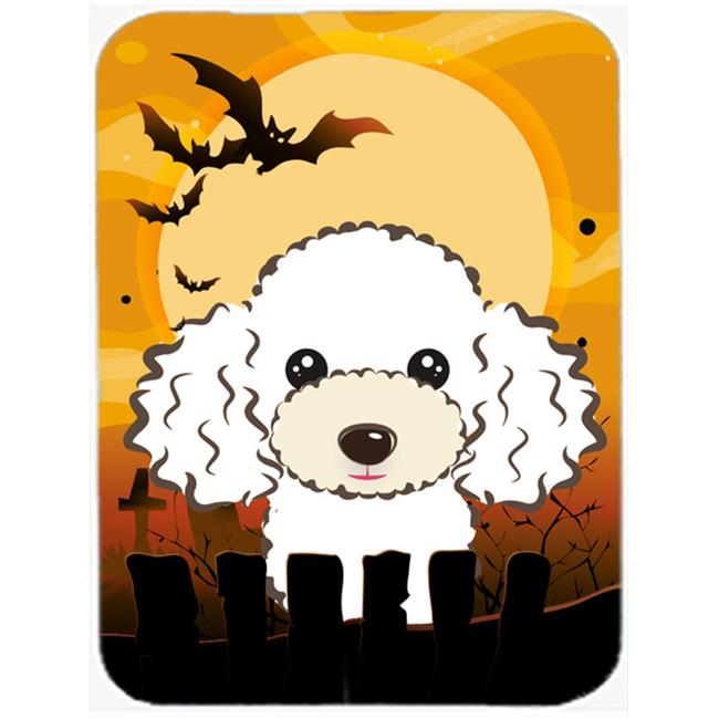Halloween White Poodle Mouse Pad, Hot Pad & Trivet