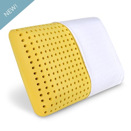 Ventilated Latex-Feel Foam Pillow by PharMeDoc - Thermoregulating Hole-Punch Memory Foam Bed Pillow with Light Chamomile Scent incl. Removable Pillow Case - Standard - 100% Latex Pillow