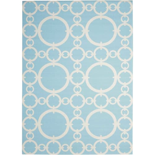 "Waverly Sun & Shade ""Connected"" Aquamarine Indoor/Outdoor Area Rug by Nourison"