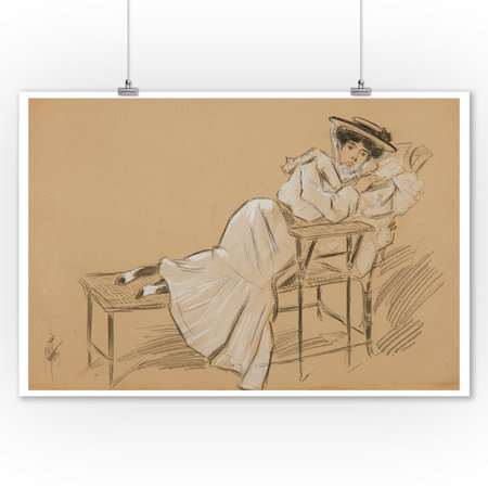 Femme a la Chaise en Osier (drawing) Vintage Poster (artist: Misti) France c. 1900 (9x12 Art Print, Wall Decor Travel - La Date D'halloween En France