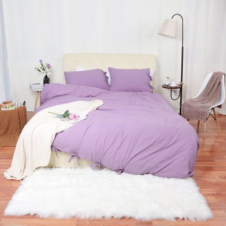 Unique Bargains Washed Cotton Bedding Duvet Cover Pillowcase Solid Color Queen Light Purple ()