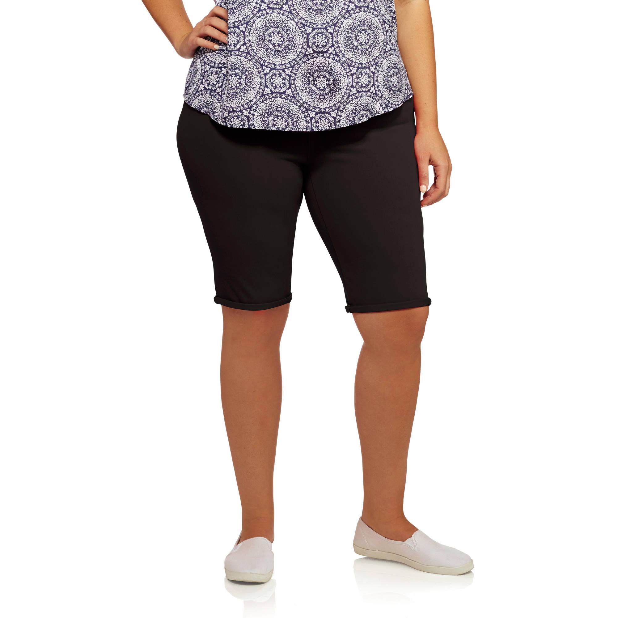 Faded Glory Women's Plus-Size Knit Jegging Bermuda Shorts ...