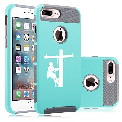 For Apple iPhone (7 Plus) Shockproof Impact Hard Soft Case Cover Lineman Electric Pole Climber (Teal-Gray)