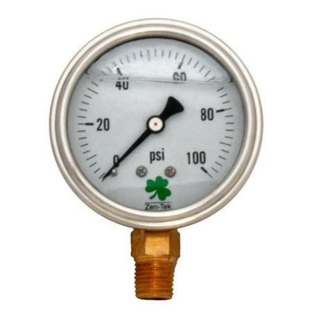 Zenport LPG100 100 psi Glycerin Liquid Filled Pressure Gauge 100 Psi Pressure Gauge
