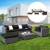 Costway 6-piece Patio Rattan Wicker Furniture Set Sectional Sofa Couch with2 Set Cushion Cover