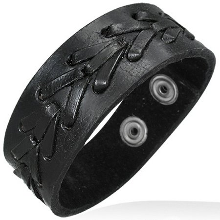 Black Leather Alloy Arrow Snap Wristband Unisex Bracelet - Snap Wristbands