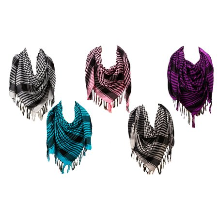 5 Pack - Unisex Colorful Lightweight Houndstooth Square Scarf Set