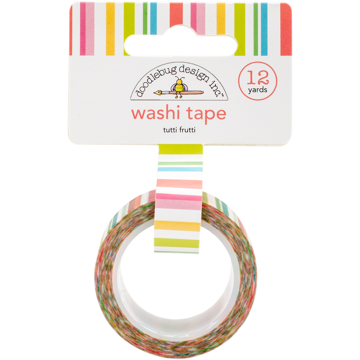 Doodlebug Washi Tape 15mmX12yd-Tutti Frutti Stripe