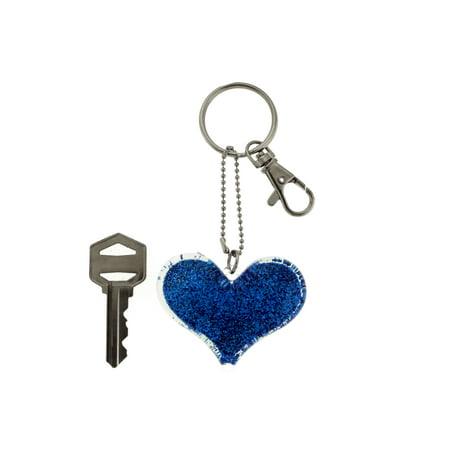 Heart Shaped Key (Glittery Blue Heart Shaped Silver-tone Key Chain With Trigger Snap KEKC5057 )