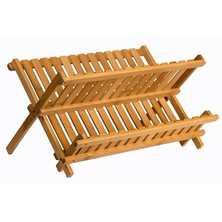 Wooden Dish Rack Plate Rack Collapsible Compact Dish Drying Rack Bamboo Dish Drainer