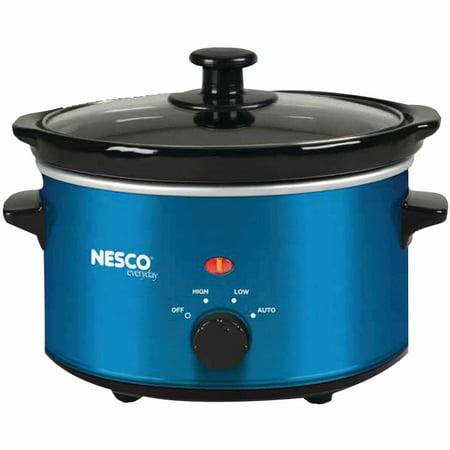 Nesco SC-150B 1.5-Quart Oval Slow Cooker, Metallic Blue