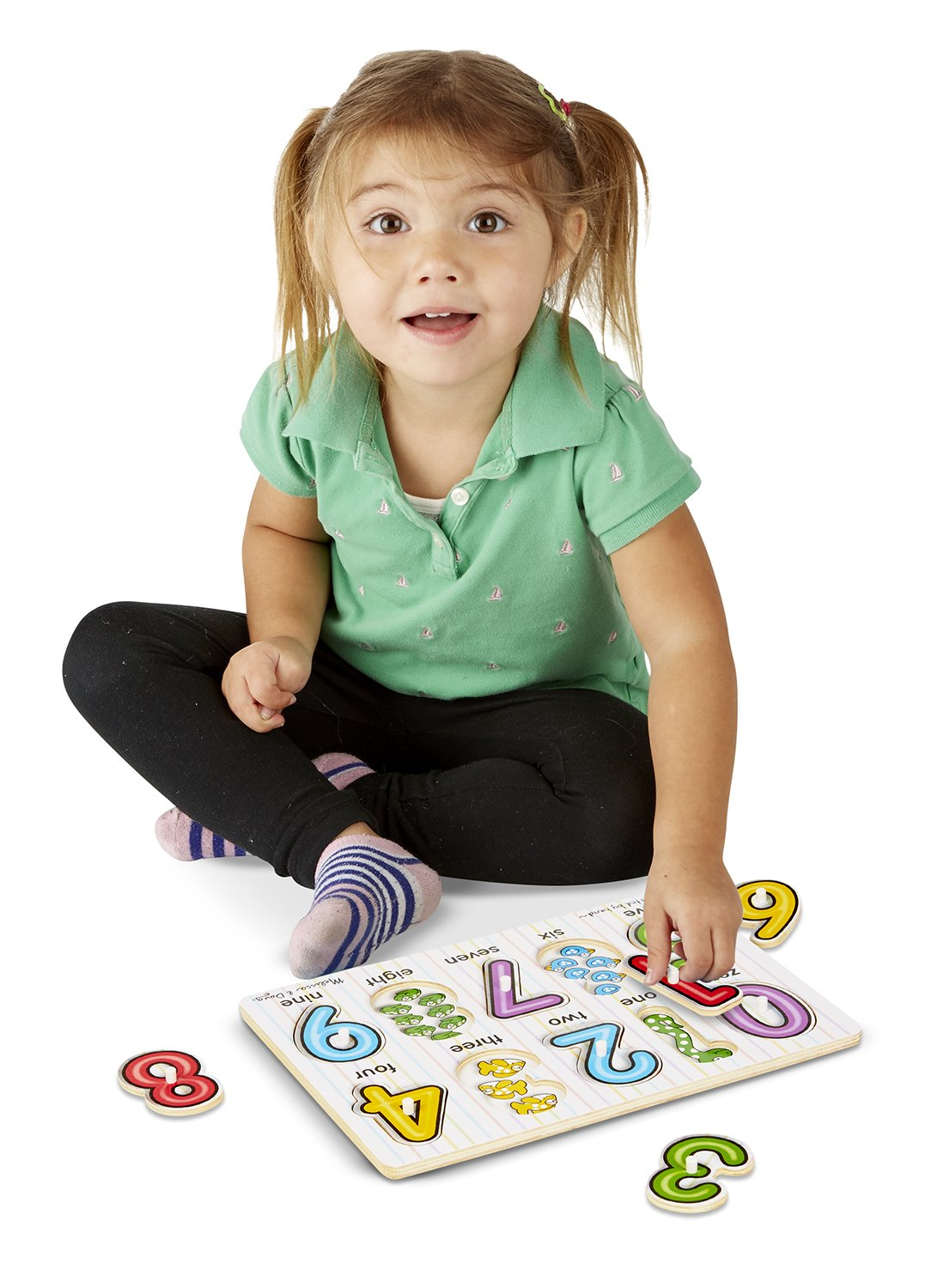 Melissa /& Doug Classic Wooden Peg Puzzles Set of 3  Numbers Alphabet and Colors