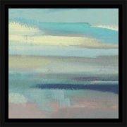 Abstract Seascape Lines Textured Coastal Painting Blue & Grey, Framed Canvas Art by Pied Piper Creative