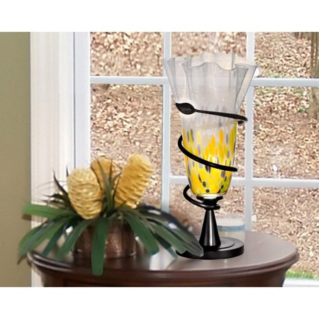 "Dale Tiffany Springdale 20""H Spiral Leaf LED Hand Blown Art Glass Table Lamp"