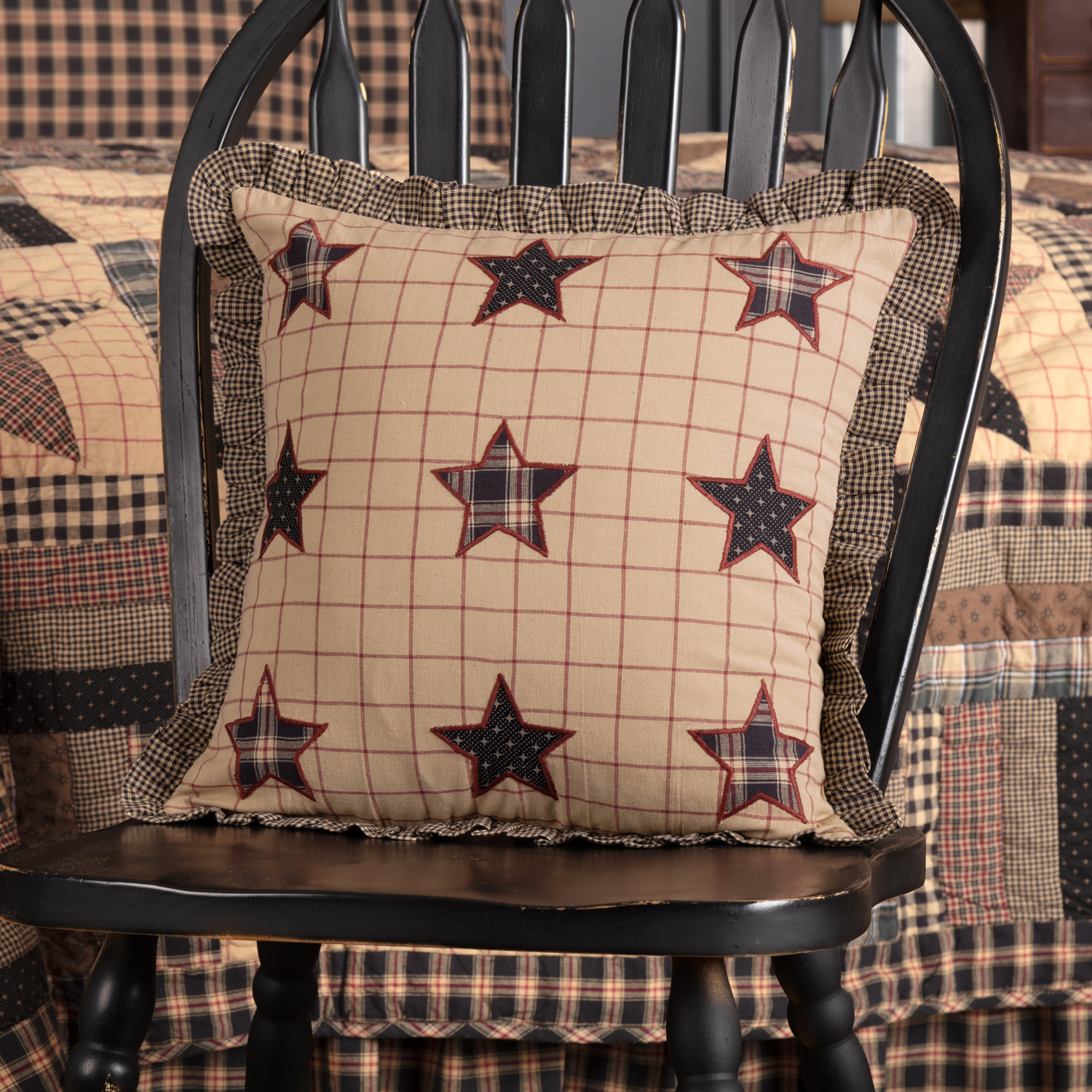 Soft Black Classic Country Bedding Denton Stars Cotton Appliqued Star Square Pillow (Pillow Cover, Pillow Insert)
