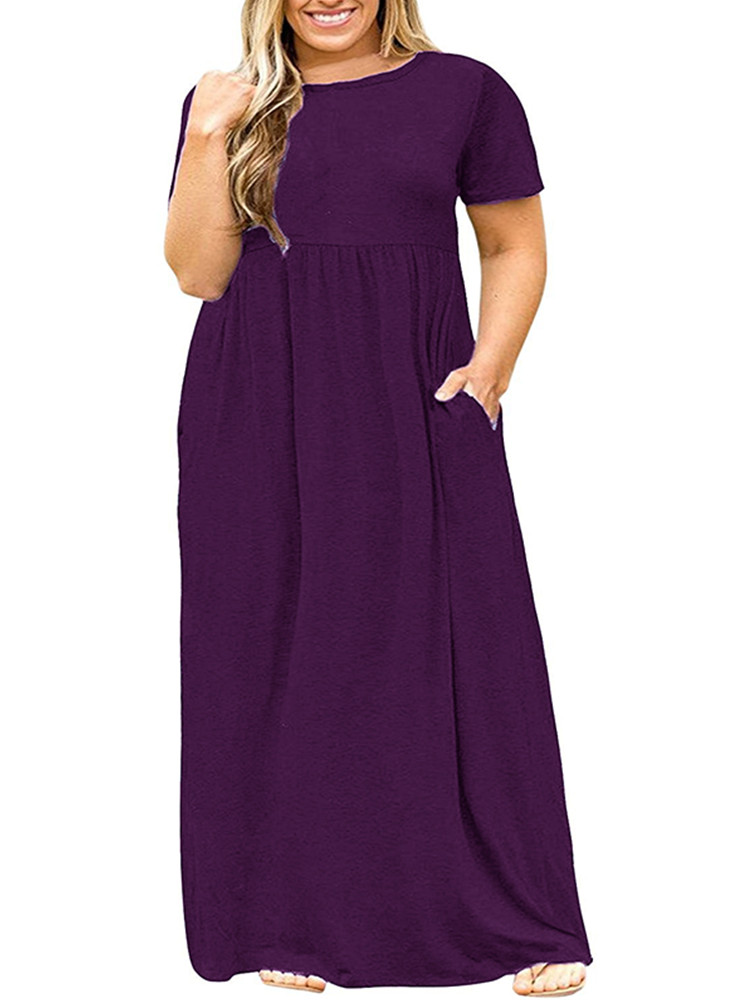 Women Solid Long Sleeve Dresses Plus-Size