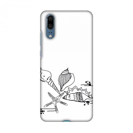 Huawei P20 Case - Sea Shells, Hard Plastic Back Cover, Slim Profile Cute Printed Designer Snap on Case with Screen Cleaning (Designer Hut)