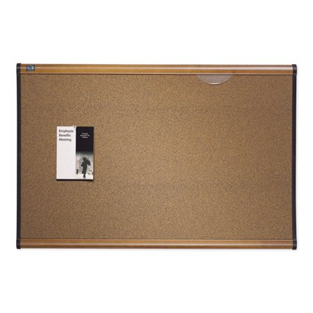 Maple Easels - Quartet Prestige Bulletin Board, Brown Graphite-Blend Surface, 36 x 24, Maple Frame