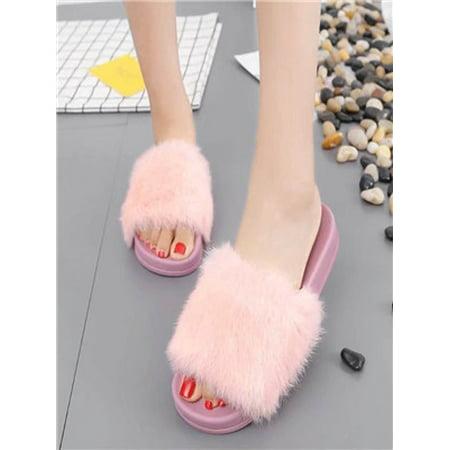 59b193808 Womens Flat Non-slip Soft Fluffy Faux Fur Flat Slipper Flip Flop Sandal PK  36 - Walmart.com