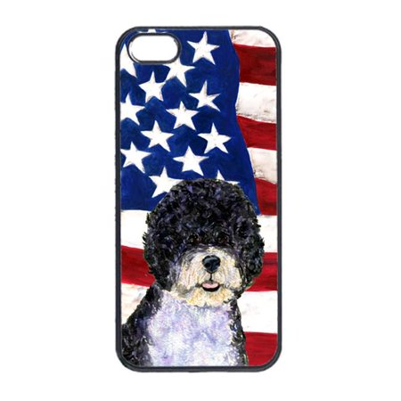 Carolines Treasures SS4053IP4 USA American Flag With Portuguese Water Dog Iphone 4 Cover - image 1 de 1