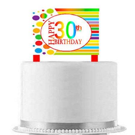 CakeSupplyShop Item#AE-030 Happy 30th Birthday Rainbow Elegant Cake Decoration Topper](30th Birthday Cake Toppers)