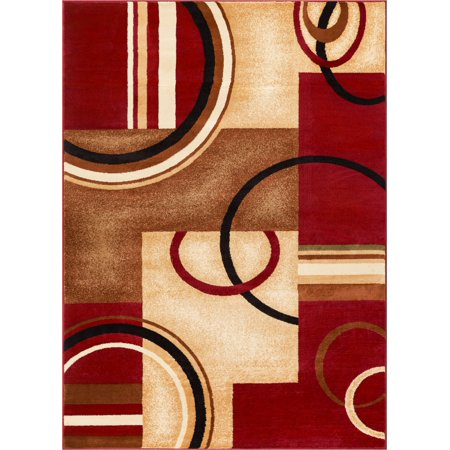 - Well Woven Deco Rings Red Ivory Light Blue Geometric Modern Casual Area Rug Easy to Clean Stain Fade Resistant Shed Free Abstract Contemporary Color Block Boxes Lines Soft Living Dining Room Rug